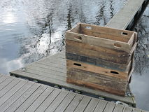 Wooden boxes for fish Royalty Free Stock Images