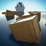 Wooden Boxes Floating Over Sea / Ocean Royalty Free Stock Photography