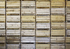 Wooden boxes for fruit. Wooden boxes stacked and orderly transportation of fruits Royalty Free Stock Photography
