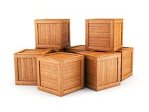 Wooden boxes group Royalty Free Stock Image