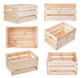 Wooden boxes isolated on white Royalty Free Stock Photo