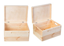 Wooden boxes isolated on white background Stock Image