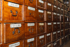 Wooden boxes for medicines in the old pharmacy Stock Photography