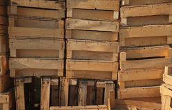 Wooden boxes piled up Royalty Free Stock Image