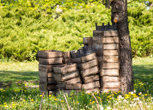 Wooden boxes. Under the tree in the park Stock Photo