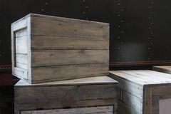 Wooden boxes vintage grunge package.  Stock Image