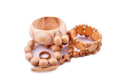 Wooden bracelet, earrings, ring Royalty Free Stock Photos