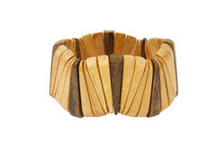 Wooden bracelet. Isolated on the white background Royalty Free Stock Image
