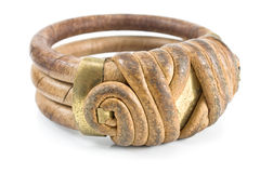 Wooden bracelet with leather Stock Image