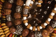 Wooden bracelets handmade closeup Stock Photography