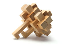 Wooden Brain Teaser. On White Background Stock Photography