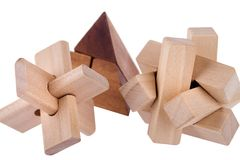 Wooden brain teasers Royalty Free Stock Photo