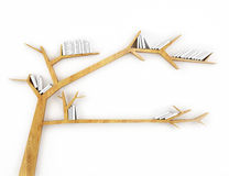 Wooden branch shelf with white books isolated on white background Stock Photo