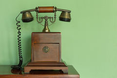 Wooden and brass antique telephone Royalty Free Stock Images