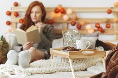 Breakfast tray with gingerbread. Wooden breakfast tray with gingerbread and a cup of tea with a woman in the background royalty free stock image