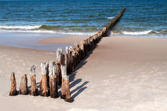 Wooden breakwater Royalty Free Stock Photo