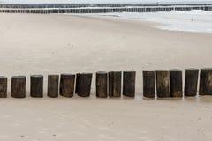 Wooden breakwater - Kolobrzeg, Poland. Stock Photo