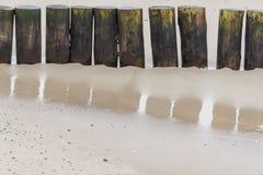 Wooden breakwater - Kolobrzeg, Poland. Royalty Free Stock Images