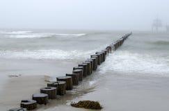 Wooden breakwater Stock Photography