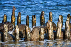 Wooden breakwater Royalty Free Stock Images