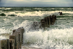 Wooden breakwater in the stormy sea Stock Images