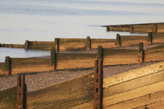 Wooden breakwaters on beach Stock Image