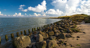 Wooden breakwaters on beautiful sandy beach on sunny summer day, Stock Images