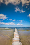 Wooden breakwaters on sandy Leba beach in late afternoon, Baltic Royalty Free Stock Photo