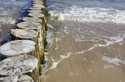 Wooden breakwaters Royalty Free Stock Photo