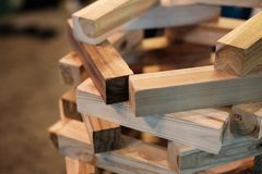 Wooden bricks game for kid development stock photo