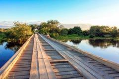 Wooden Bride. Wooden Bridge at sunset in the Pantanal, Brazil Stock Photos