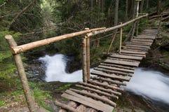 Wooden Bridge. Over the river in Rhodope Mountain, Bulgaria Stock Image