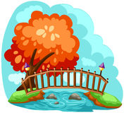 Wooden bridge. Illustration of landscape wooden bridge Stock Photography