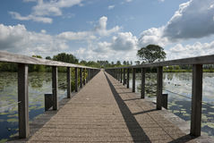 Wooden bridge. Wooden brige. Picture taken by Fort Wierickerschans in Bodegraven, The Netherlands on 17-07-2011 Royalty Free Stock Image