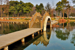 Wooden bridge. A wooden bridge over river Royalty Free Stock Photo