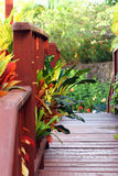 Wooden bridge. Wooden pedestrian bridge in beautiful garden Royalty Free Stock Photos
