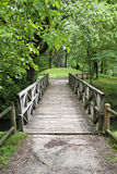 Wooden bridge. In a park Stock Images