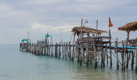 Wooden bridge. Old wooden bridge to the sea Royalty Free Stock Image