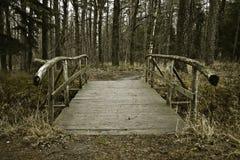 Wooden bridge. An old wooden bridge across the stream Royalty Free Stock Photo