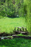 Wooden bridge. Small wooden bridge on a creek in a countryside Stock Images