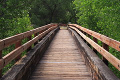 Wooden Bridge. Bridge over oak creek. The road to sucess is not always the road most taken Stock Photos