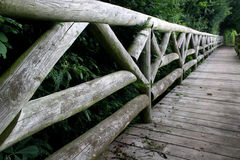 Wooden bridge. Wide angle view of wooden bridge Stock Photos