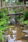 Wooden bridge across the brook Stock Images