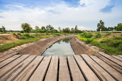 Wooden bridge across the canal Stock Photography