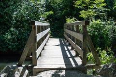 Wooden bridge across a leafy stream Royalty Free Stock Image
