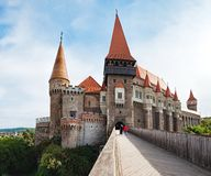 Towers of the Corvin Castle in Romania stock photography