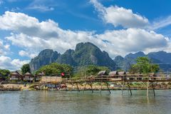 Wooden bridge across Nam Song river at Vang Vieng. Laos Stock Image