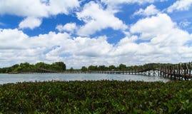 Wooden bridge across reservoir Royalty Free Stock Images