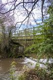 Wooden bridge across Rother river. Shadowed by green trees and with blue sky Stock Photography