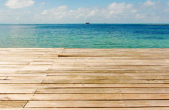 Wooden bridge against blue sea Stock Images